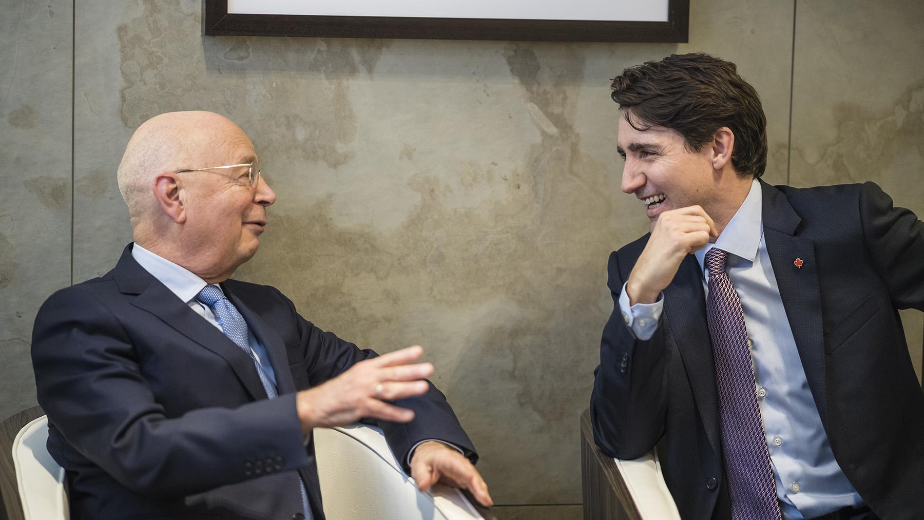 Prof. Klaus Schwab im Gespräch mit dem Premierminister Kanadas, Justin Trudeau