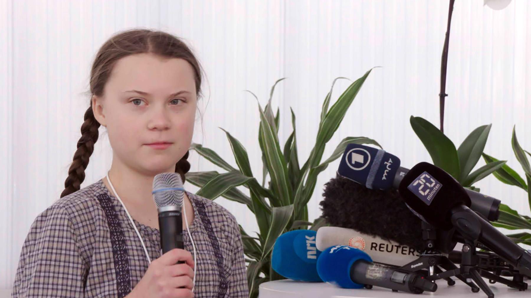Greta Thunberg, die schwedische Klimaschutzaktivistin, bei einer Veranstaltung auf dem Weltwirtschaftsforum in Davos 2019